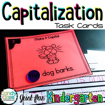 Kindergarten Capitalization Task Cards with Anchor Chart & 2 Games