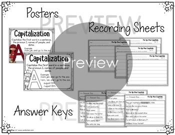 Capitalization Task Cards with Poster: First Grade Grammar Practice