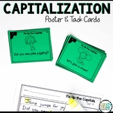 Capitalization Task Cards with Poster: First Grade Grammar