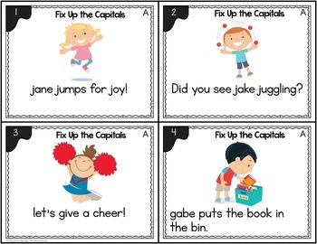 Capitalization Activity with Poster: Task Cards for 1st Grade Grammar Centers
