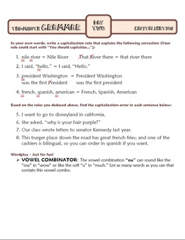 Capitalization: Ten-Minute Grammar Unit #4