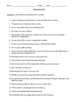 Capitalization Test and Answer Key