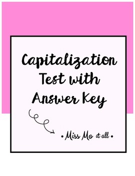 Capitalization Test with Answer Key