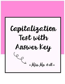 Capitalization Test with Answer Key