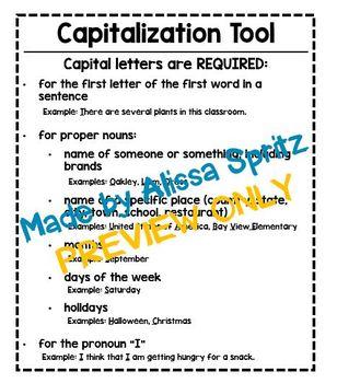 Capitalization Tool - Writing Checklist