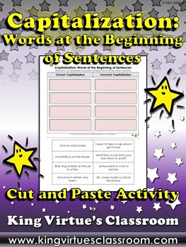 Capitalization: Words at the Beginning of Sentences - Cut and Paste Activity