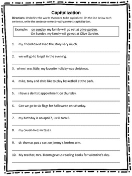 Capitalization Worksheet by Teacherific in 2 grade | TpT