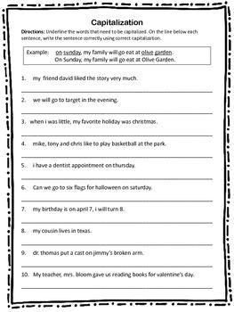 Capitalization Worksheet