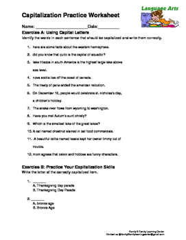 Capitalization Practice Worksheet by Family 2 Family Learning Resources