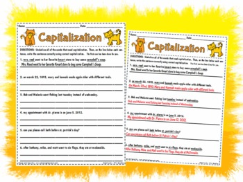 graphic relating to Printable Capitalization Worksheets identified as Capitalization Worksheet Game Website page Printable
