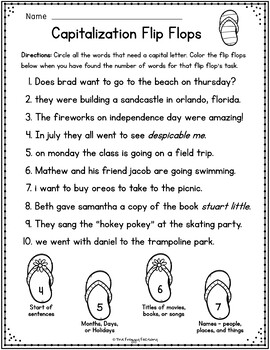 Capitalization Worksheets - NO PREP