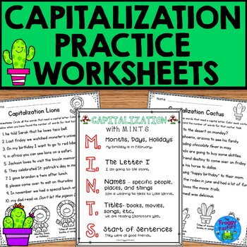 Capitalization Practice Worksheets - NO PREP