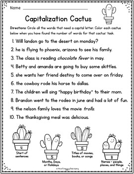 capitalization worksheets capitalization practice by the froggy factory. Black Bedroom Furniture Sets. Home Design Ideas