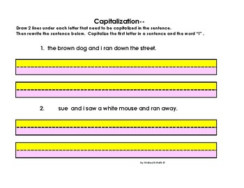 grammar capitalization worksheets colored paper for visual perception