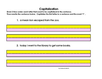 Grammar-----Capitalization Worksheets-- colored paper for  visual perception