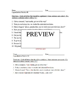 Capitalization Worksheets #'s 4, 5, 6