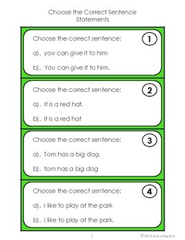Capitalization and Punctuation - Choose the Correct Sentence