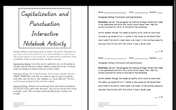 Capitalization and Punctuation Interactive Notebook