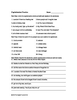 Capitalization and Punctuation Practice Worksheet and Answer Key