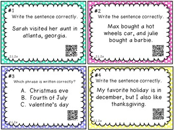 Capitalization and Punctuation QR Codes {Common Core}