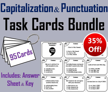 Capitalization and Punctuation Task Cards 2nd 3rd 4th 5th 6th Grade