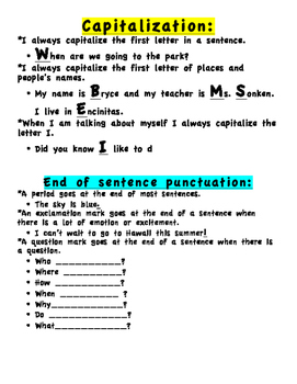 Capitalization and Punctuation handout