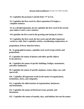 Capitalization game: 21 rules and examples- cut and paste study sheet