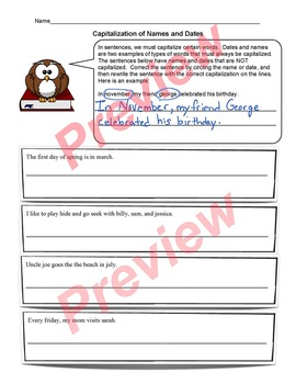 Capitalization of Names and Dates Worksheet ELA Activity