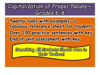 Capitalization of Proper Nouns—Grades 6-8