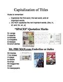 Capitalization of Titles- Study Sheet