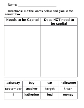 Capitalization sorting worksheet