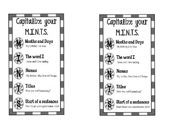 Capitalization with M.I.N.T.S. poster and bookmark