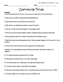 Capitalize Titles Worksheet and Answer Key