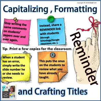 Capitalizing, Formatting, and Crafting Titles Reminder   for Google Slides