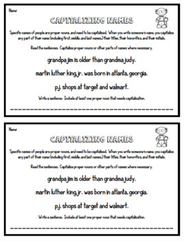 Capitalizing Names - 4th Grade Grammar Exit Tickets
