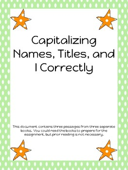 Capitalizing Names, Titles, and I Correctly