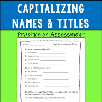 Capitalizing Names and Titles of People Assessment