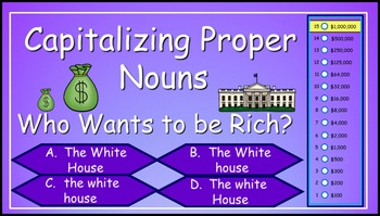 Capitalizing Proper Nouns Power Point Millionaire Game