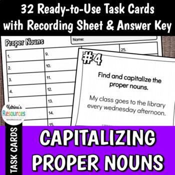 Capitalizing Proper Nouns Task Cards