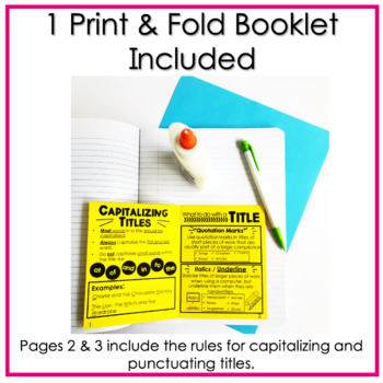 "Punctuating & Capitalizing Titles of Work Book Titles No Prep ""Fold and Go"""