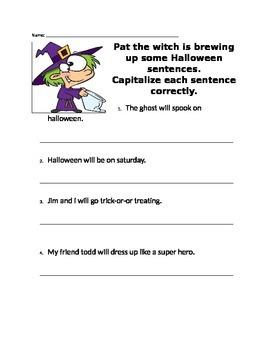 Capitalizing Sentences-Halloween Theme