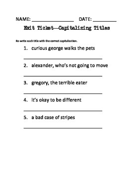 Capitalizing Titles Lesson Worksheets