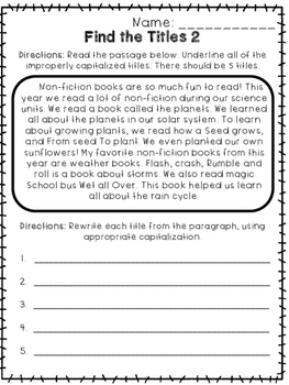 Capitalizing Titles - Print and Go Unit