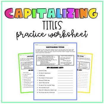 Capitalizing Titles Worksheet