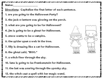 FREEBIE - Capitalizing the first letter in a sentence Halloween Style