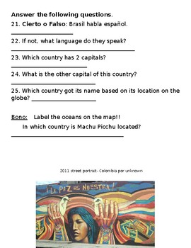 Capitals and Countries of South America (América del Sur) Quiz