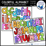 Capitals and Lowercase Alphabet Bundle Clip Art - Whimsy W