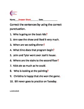 Capitals and Punctuation Common Core Language ELA Sheets L.1.2.A, L.1.2.B, etc