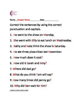 Capitals and Punctuation Common Core Language ELA Sheets L.1.2.A, L.1.2.B, etc