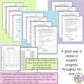Capitalization & Punctuation Tests for Baseline Assessment (Bundled) Grades 3-5